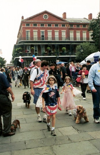 Dogs & children dressed alike at Krewe of Barkus Parade New Orleans