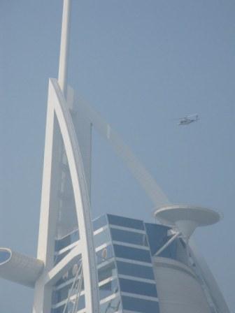 Helicopter above helipad at the Burj Al Arab Dubai