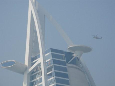Helicopter shuttle approaching helipad at the Burj Al Arab Dubai