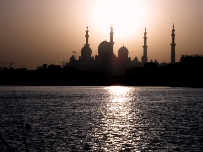 Abu Dhabi Grand Mosque sunset silhouettes