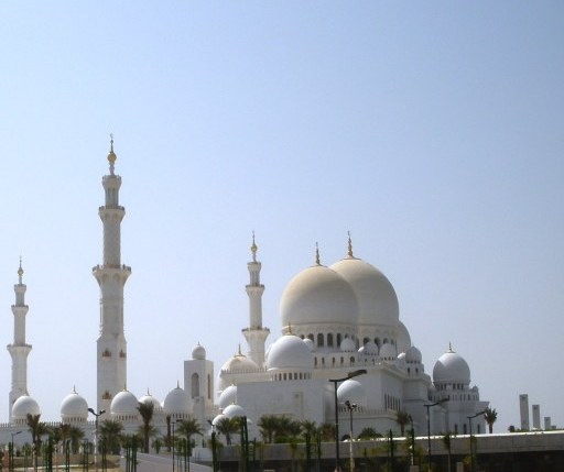 Abu Dhabi Grand Mosque with young palms