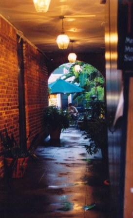 Alley to courtyard in the French Quarter New Orleans