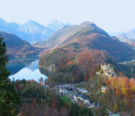 Alpsee and Hohenschwangau from mountain trail
