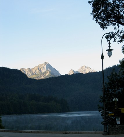 Alpsee below Neuschwanstein Castle at dawn