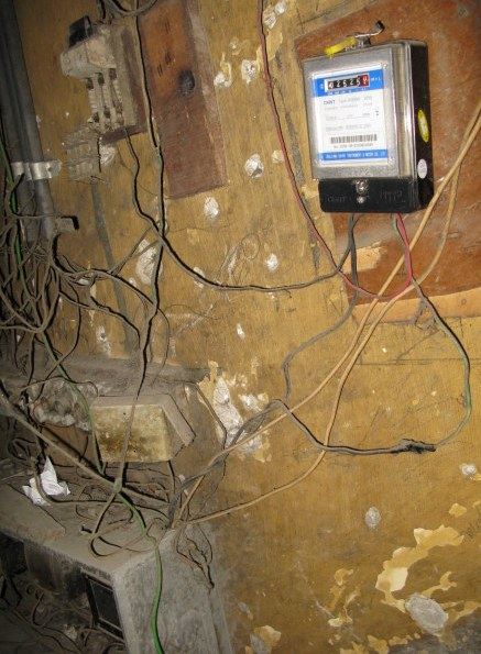 Apartment house central wiring and meter Havana Cuba