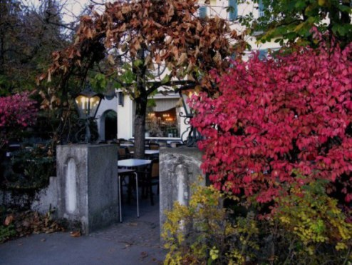 Autumn colours on Hotel Müller terrace Bavaria