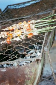 BBQ kebabs on reeds -AgriculturalFair-Havana-Cuba