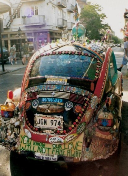 Back of decorated VW beetle in New Orleans