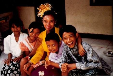 Bali bride with village children