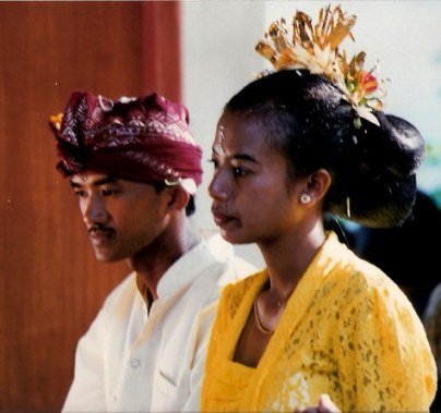 Bali village bridal couple