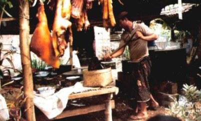 Bali village wedding feast food preparation