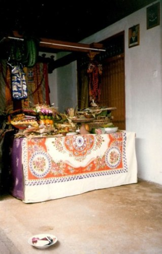 Bali village wedding gift offering table