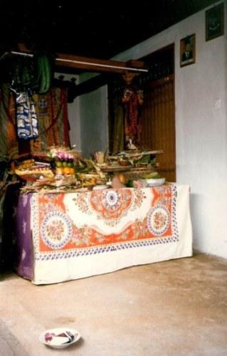 Bali village wedding gift offering table