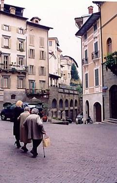 Three ladies in the square Bergamo