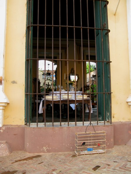 Bird cage outside shop Trinidad de Cuba