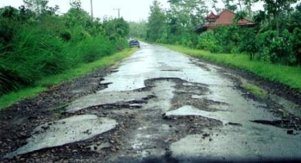 Broken road surface in Bali