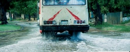 Bus on flooded street in Havana