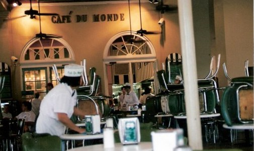 Café du Monde at dawn French Quarter New Orleans