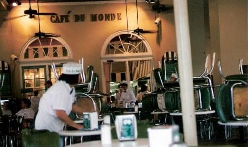 Café du Monde at dawn French Quarter New Orleans