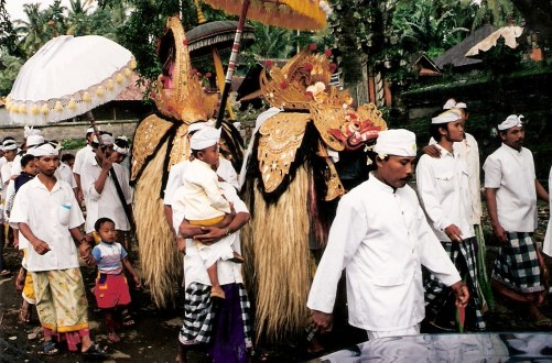 Ceremonial procession Petulu in Bali