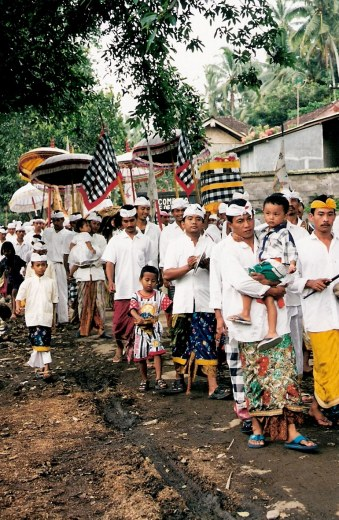 Ceremonial procession Village of White Herons in Bali