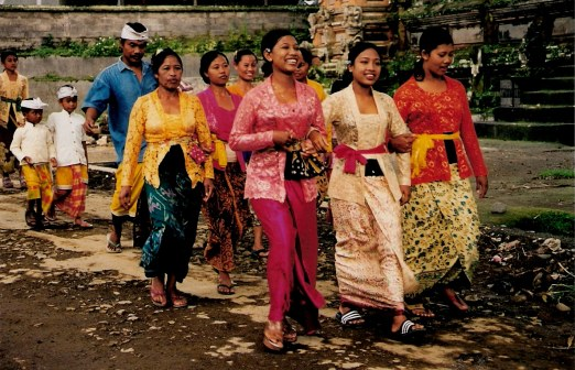 Ceremonial procession of ladies of Village of White Herons Bali