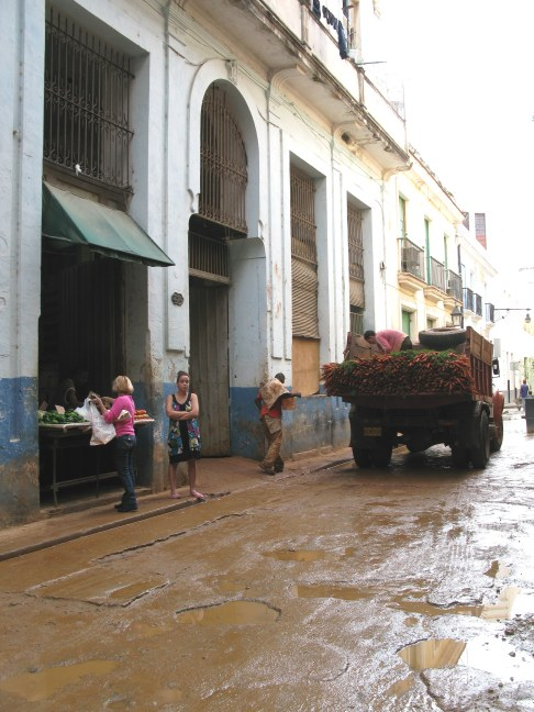 Classic old truck with a load of carrots in Havana Cuba