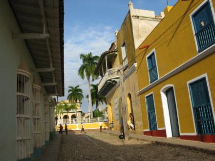 Colourful houses off Plaza Mejor Trinidad de Cuba