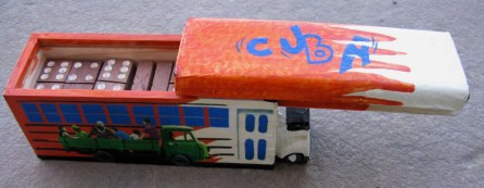 Cuban domino box in shape of bus