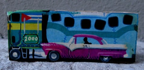 Cuban domino box with Camelo and classic car