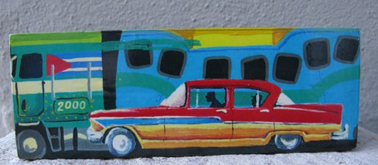 Cuban domino box with Camelo and colourful classic car