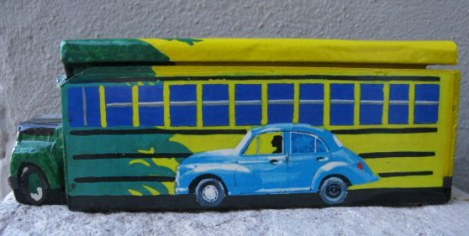 Cuban domino box with bus and Morris Minor 1000