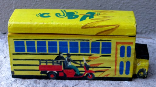 Cuban domino box with bus and motorbike
