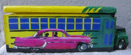 Cuban domino box with bus and pink classic car