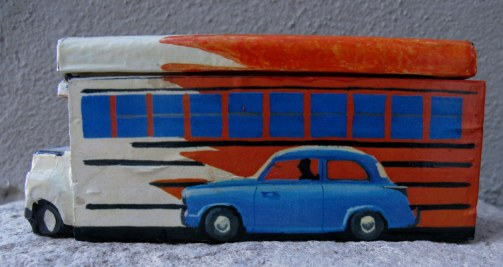 Cuban domino box with bus and small blue classic car