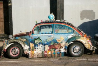 Decorated VW beetle in New Orleans