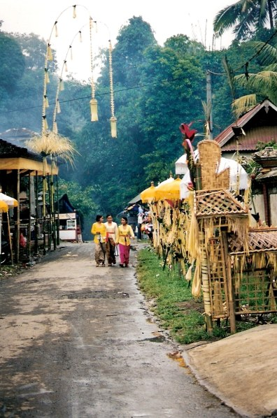 Decorated streets of the Village of White Herons Bali