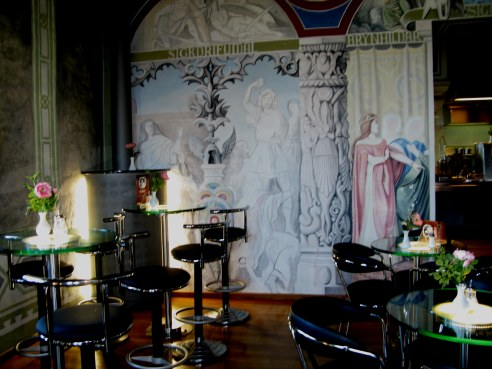 Designs for film set on wall of café Neuschwanstein Castle Bavaria