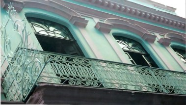 Detail of  facade restoration in Havana