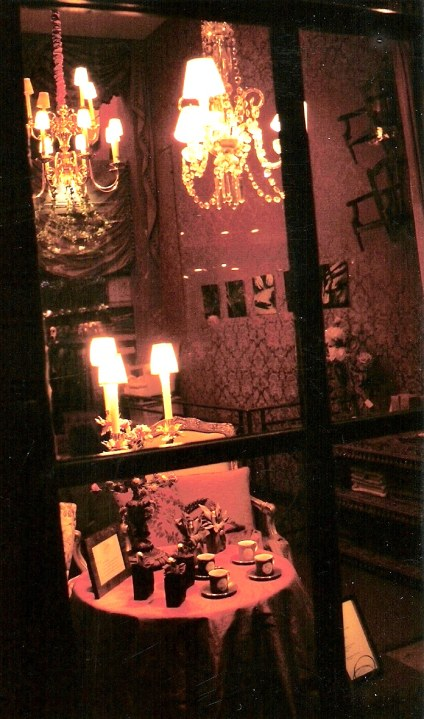 Entrance to Paris antique shop at night
