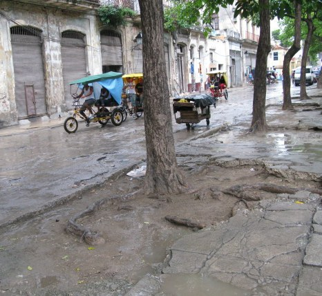 Eroded footpaths Havana Cuba