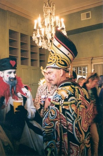 Exotic costumes of French Quarter balcony party during New Orleans Mardi Gras