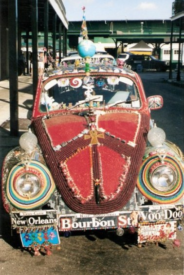 Front of decorated VW beetle in New Orleans