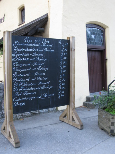 Giant menu blackboard of Bäustüberl Hohenschwangau