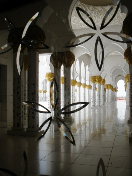 Grand mosque Abu Dhabi colonnades with beveled glass