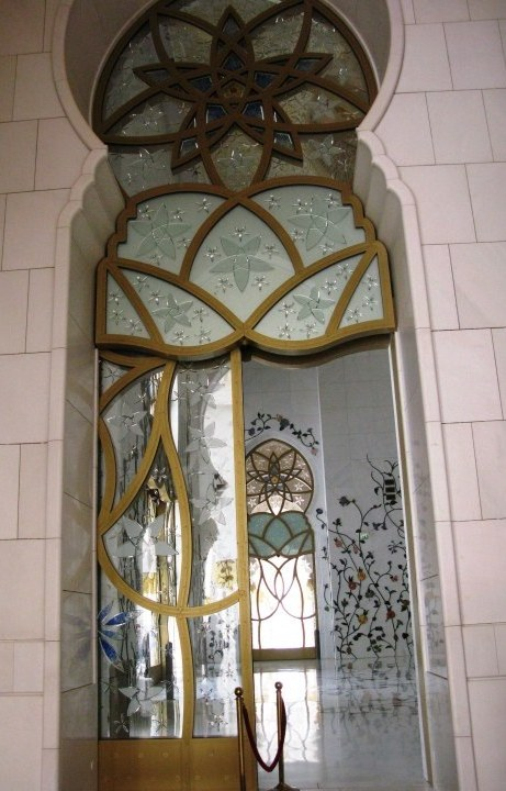 Grand mosque Abu Dhabi glass door