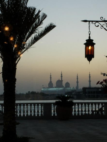 Grand mosque Abu Dhabi lanterns and minarets