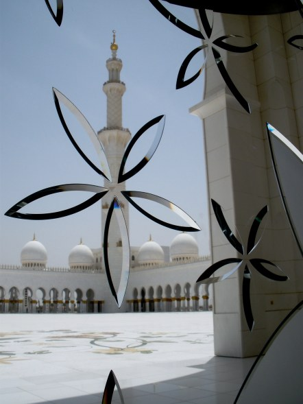 Grand mosque Abu Dhabi with beveled glass