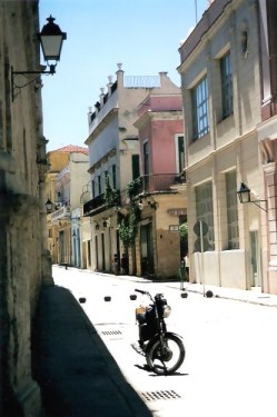 Habana Viejo street with cannon-ball traffic barriers