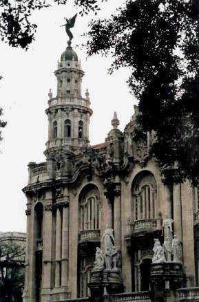 Havana Angel above façade of Gran Teatro - Habana Viejo